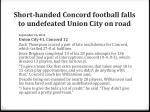 short handed concord football falls to undefeated union city on road