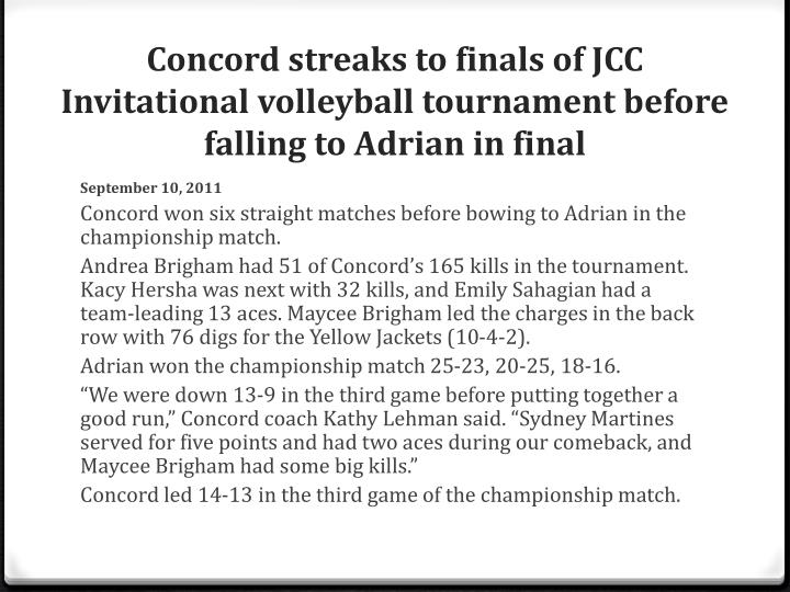 Concord streaks to finals of JCC Invitational volleyball tournament before falling to Adrian in