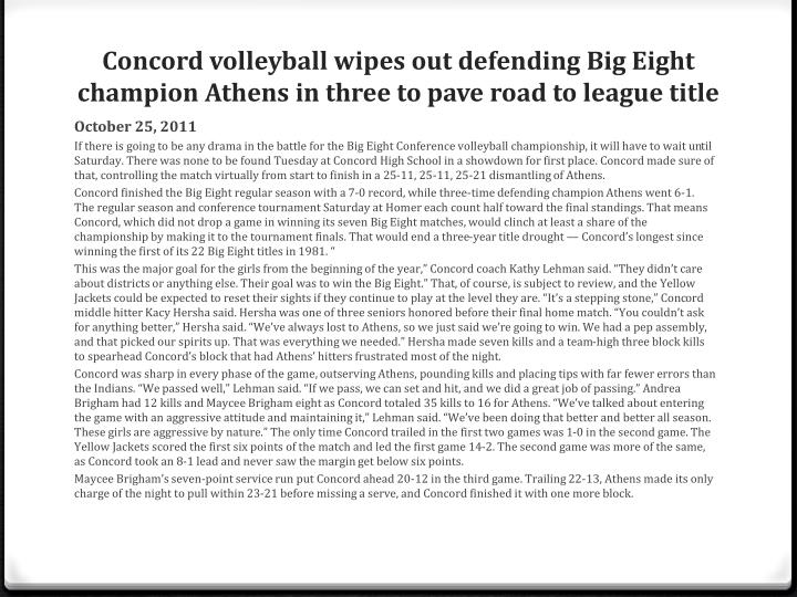 Concord volleyball wipes out defending Big Eight champion Athens in three to pave road to league title