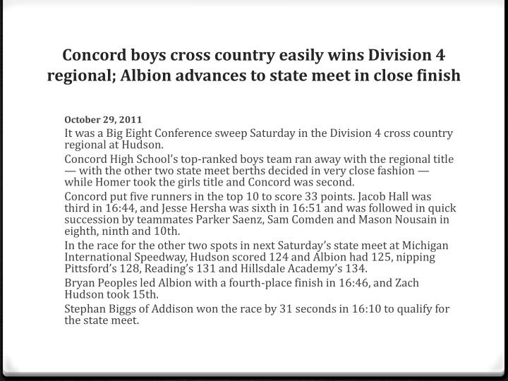 Concord boys cross country easily wins Division 4 regional; Albion advances to state meet in close finish