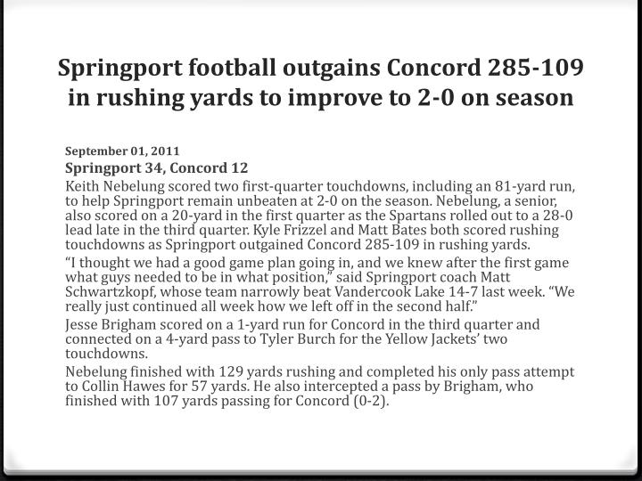 Springport football outgains Concord 285-109 in rushing yards to improve to 2-0 on