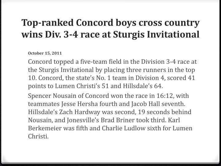 Top-ranked Concord boys cross country wins Div. 3-4 race at Sturgis Invitational
