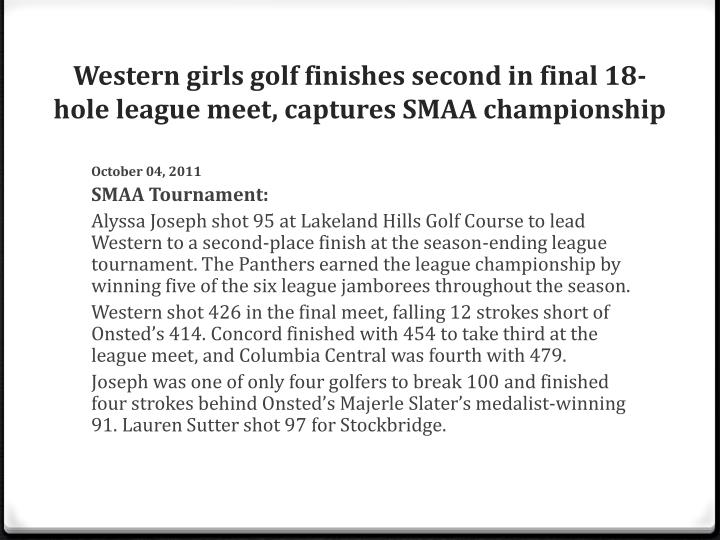 Western girls golf finishes second in final 18-hole league meet, captures SMAA championship