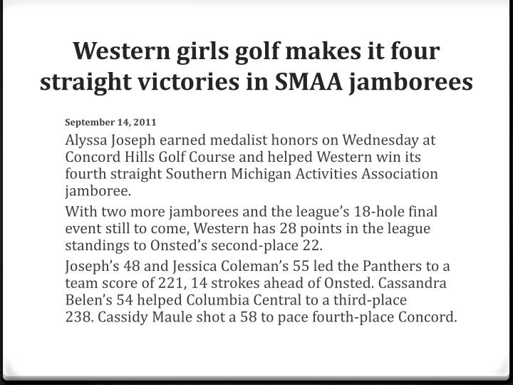 Western girls golf makes it four straight victories in SMAA jamborees