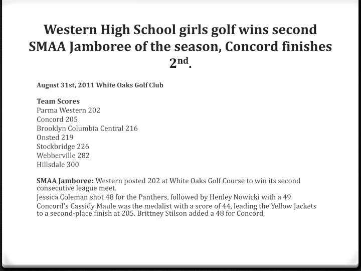 Western High School girls golf wins second SMAA Jamboree of the