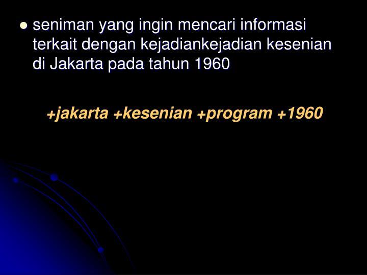seniman yang ingin mencari informasi terkait dengan kejadiankejadian kesenian di Jakarta pada tahun 1960