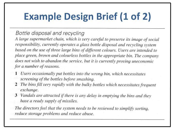 Example Design Brief (1 of 2)