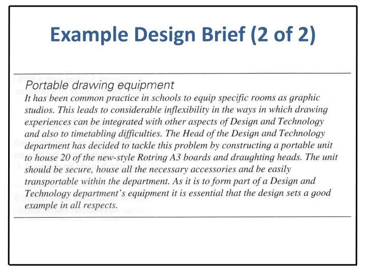 Example Design Brief (2 of 2)