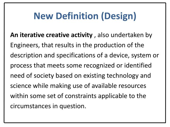 New Definition (Design)