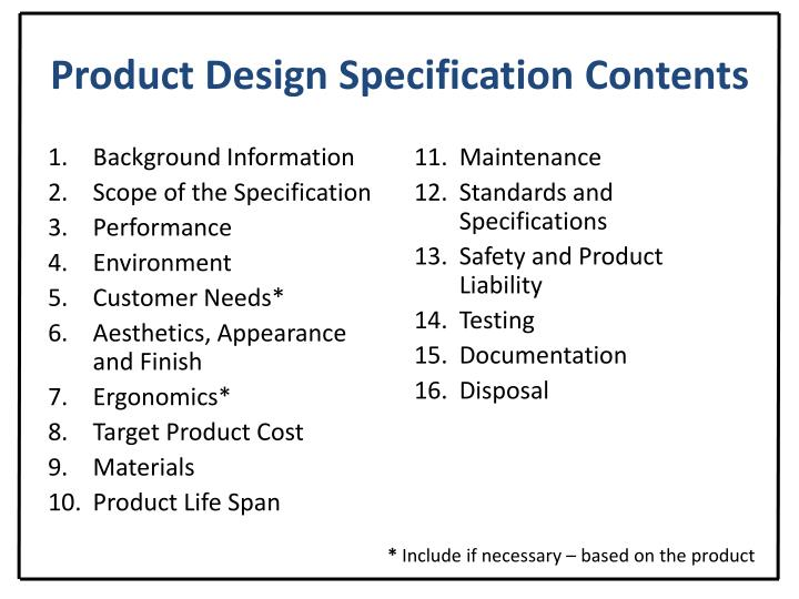 Product Design Specification Contents