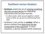 synthesis versus analysis