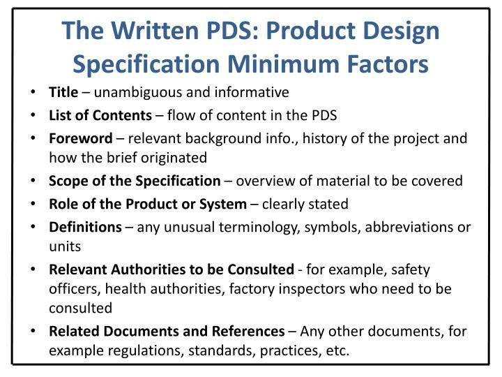 The Written PDS: Product Design Specification Minimum Factors