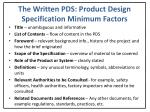 the written pds product design specification minimum factors