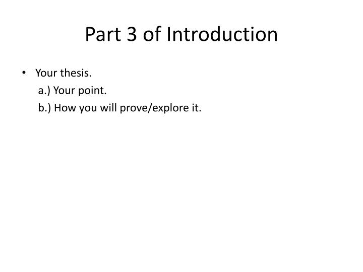 Part 3 of Introduction