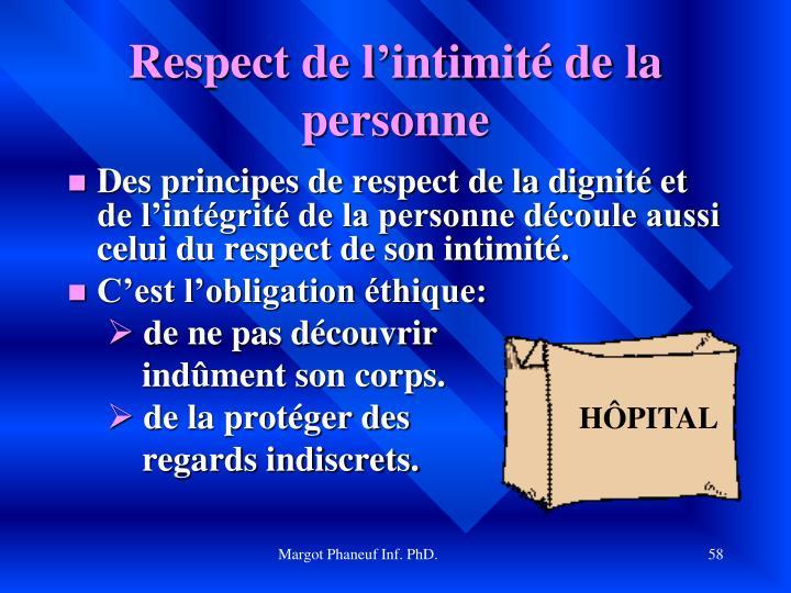 Respect de l'intimité de la personne