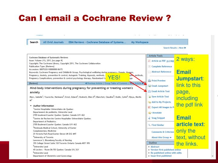 Can I email a Cochrane