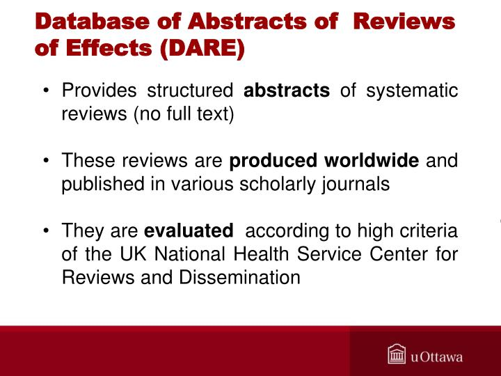 Database of Abstracts of  Reviews of Effects (DARE)