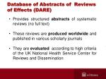 database of abstracts of reviews of effects dare