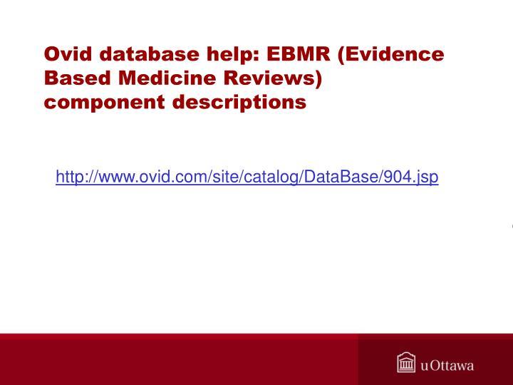 Ovid database help: EBMR