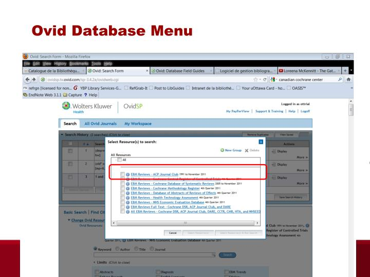 Ovid Database Menu