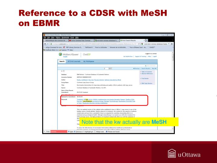 Reference to a CDSR with