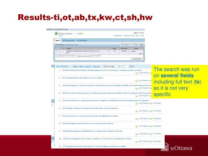 Results-ti,ot,ab,tx,kw,ct,sh,hw