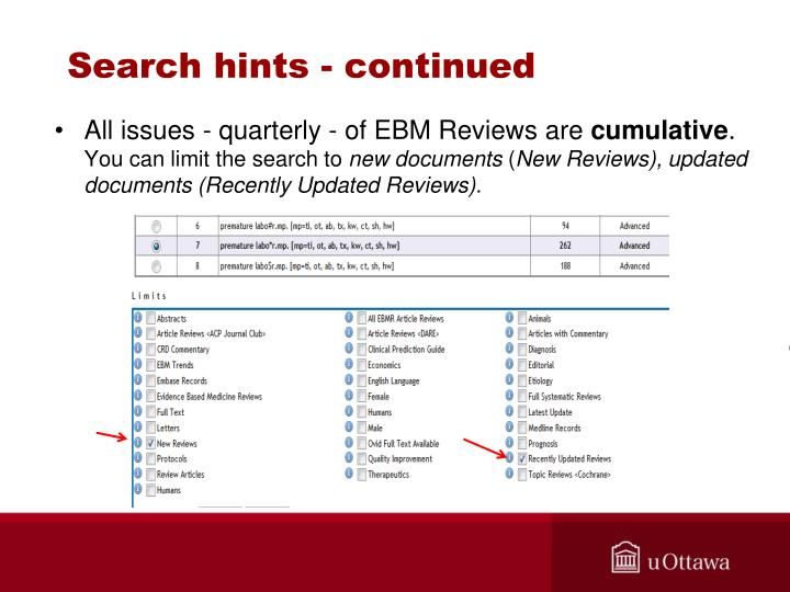Search hints - continued