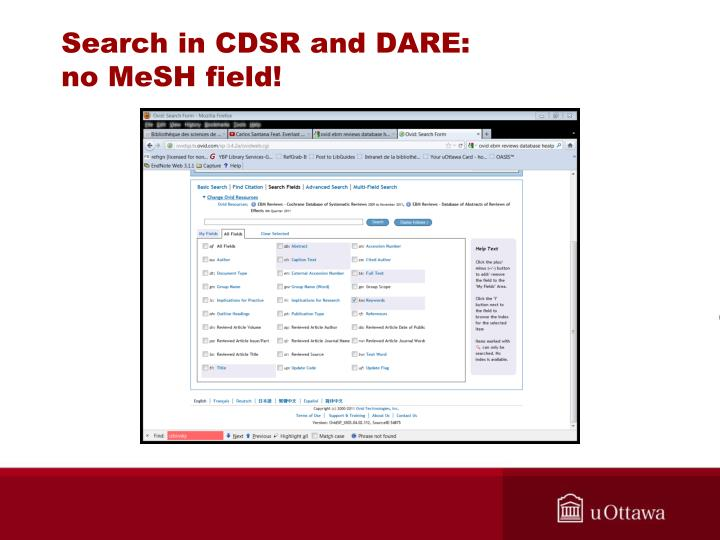 Search in CDSR and DARE: