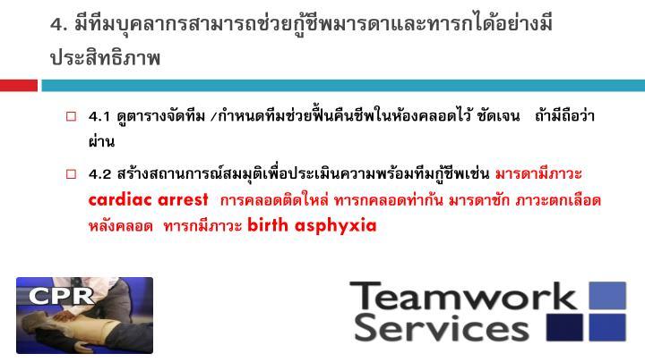 4. มีทีมบุคลากรสามารถช่วยกู้ชีพมารดาและทารกได้อย่างมีประสิทธิภาพ