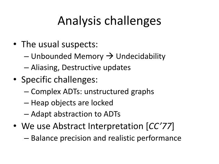 Analysis challenges
