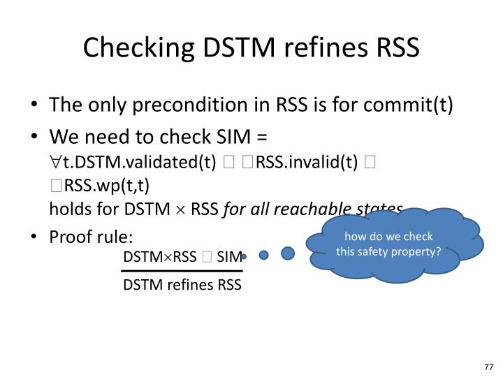 Checking DSTM refines RSS