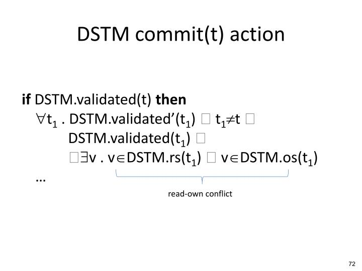 DSTM commit(t) action