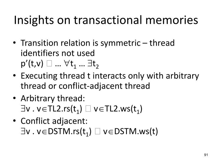 Insights on transactional memories