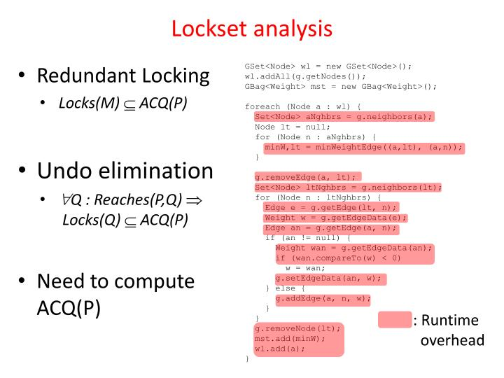 Lockset analysis
