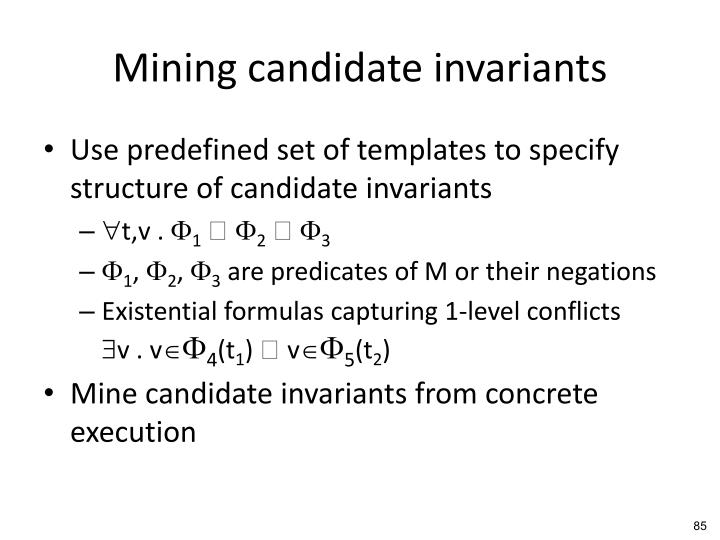 Mining candidate invariants
