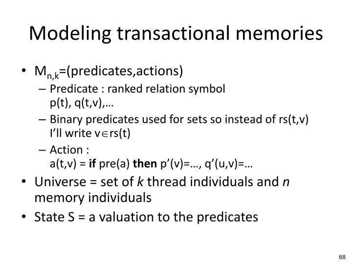 Modeling transactional memories