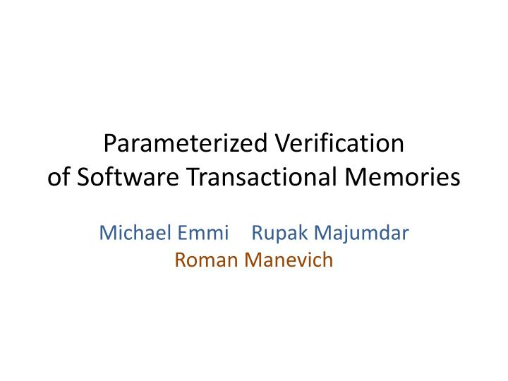 Parameterized Verification