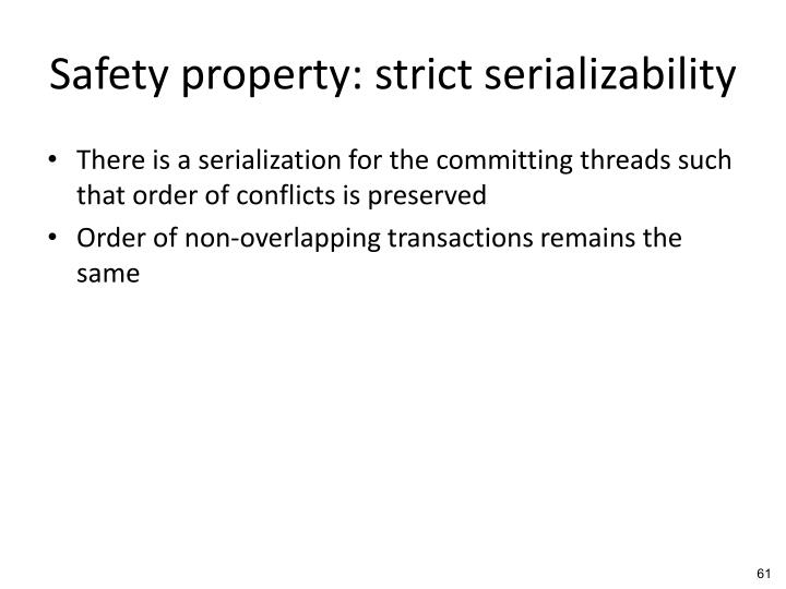 Safety property: strict