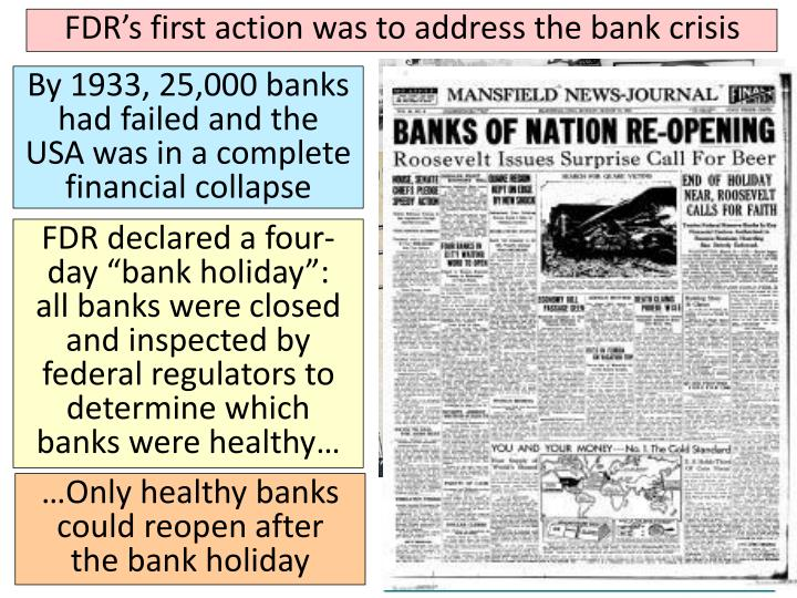 FDR's first action was to address the bank crisis