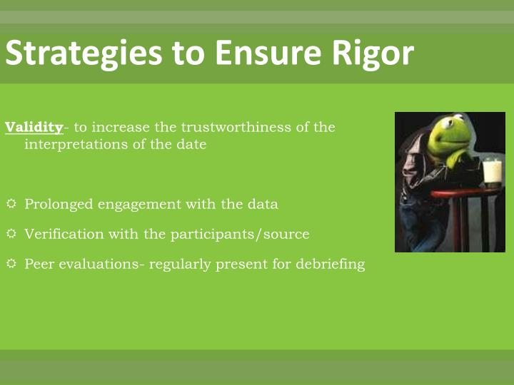 Strategies to Ensure Rigor