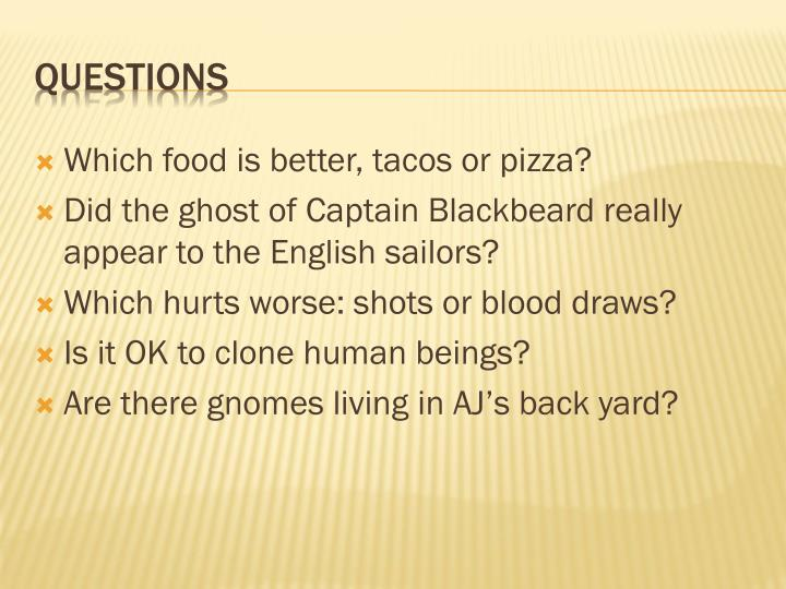 Which food is better, tacos or pizza?