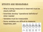 specific and measurable