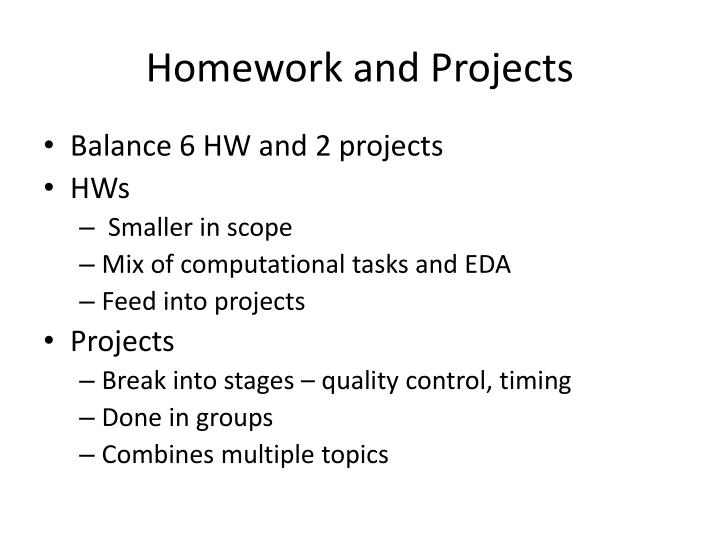 Homework and Projects