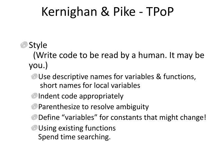 Kernighan & Pike - TPoP