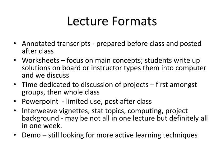 Lecture formats