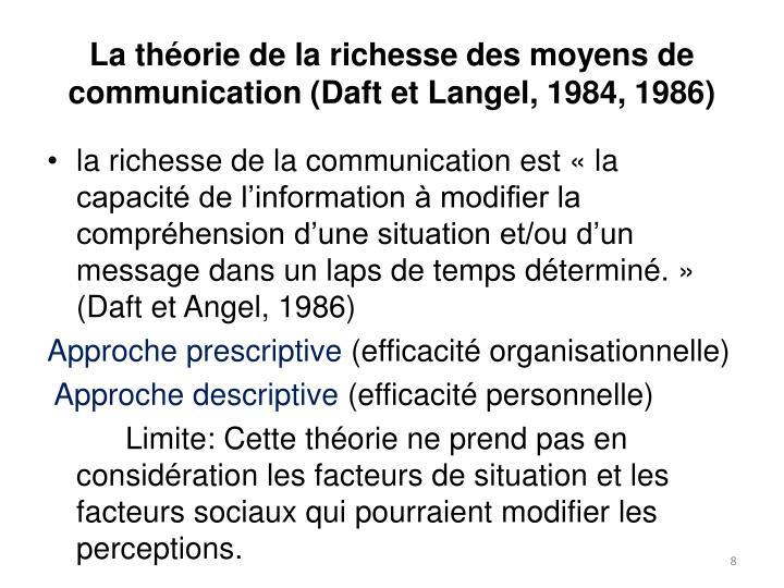 La théorie de la richesse des moyens de communication (