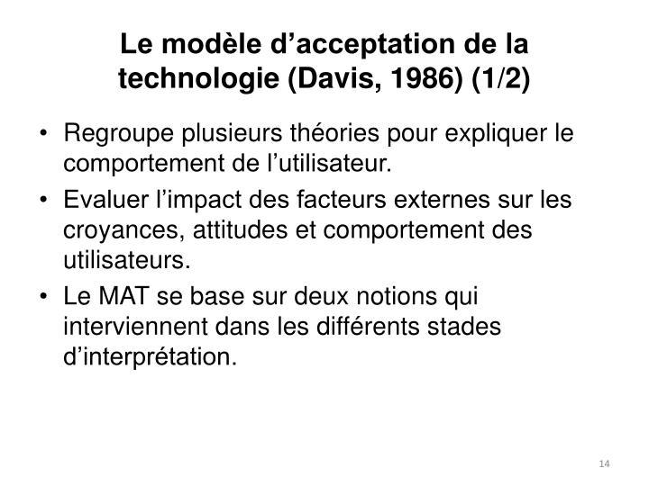 Le modèle d'acceptation de la technologie (Davis, 1986) (1/2)