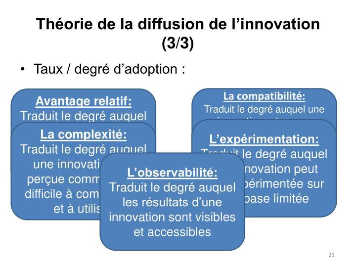Théorie de la diffusion de l'innovation (3/3)