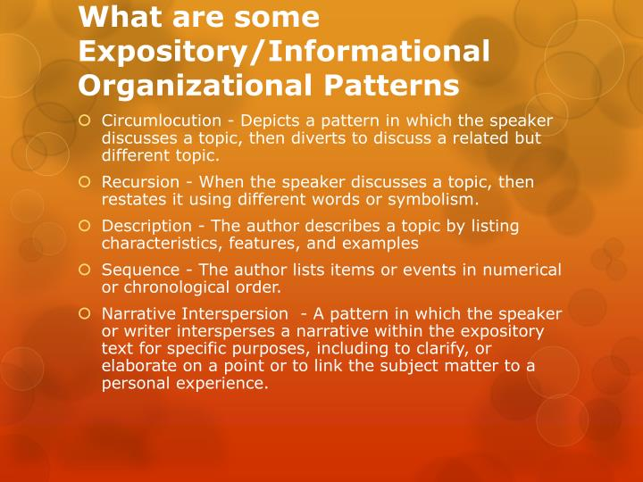 What are some expository informational organizational patterns