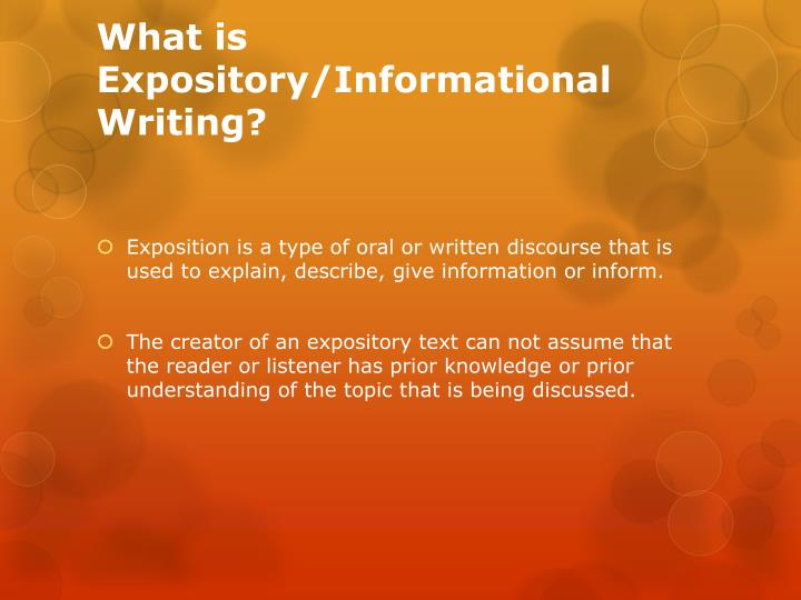 What is expository informational writing